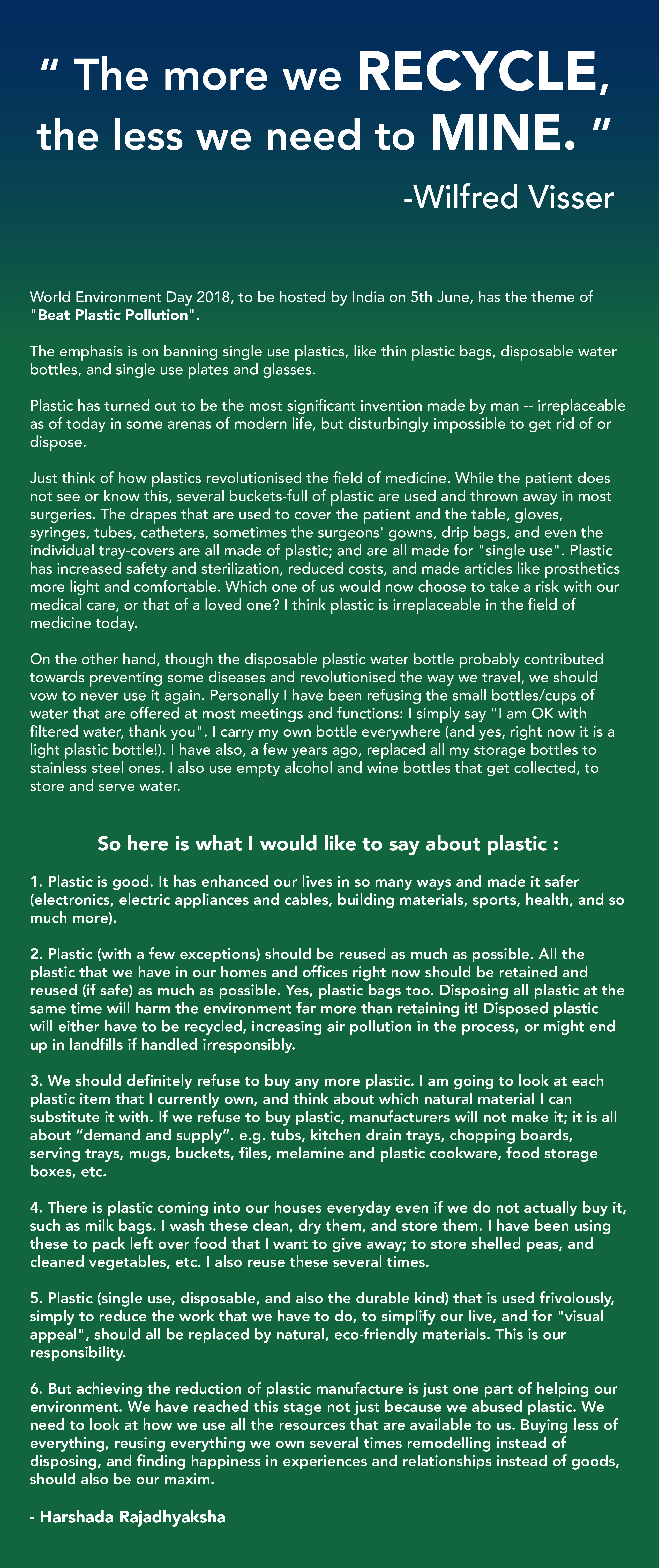 Plastic and the Environment | Prakruti Sports Science ...